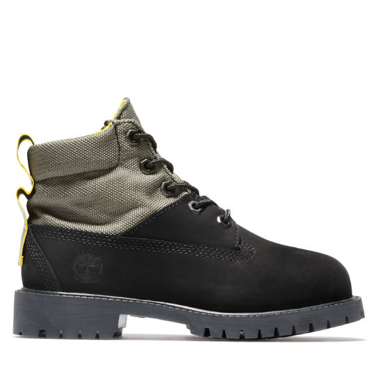 Premium 6 Inch Fabric & Leather Boots for Youth in Black | Timberland