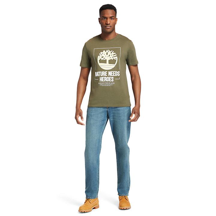 T-shirt Nature Needs Heroes™ pour homme en vert foncé-