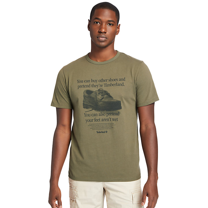 Archive-Print T-Shirt for Men in Dark Green-