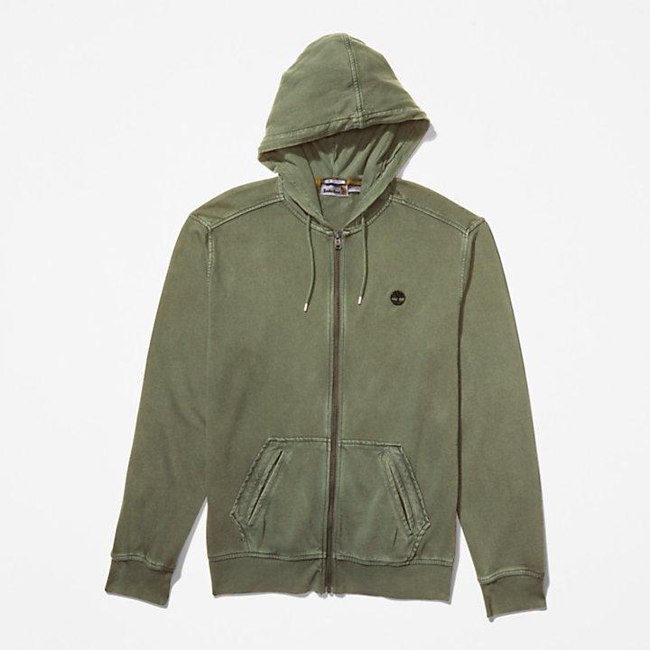 Sweat-shirt zippé Sunwashed pour homme en vert-