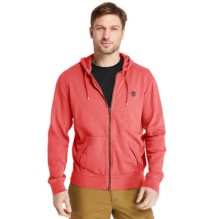 Sunwashed Zip-front Sweatshirt for Men in Red-