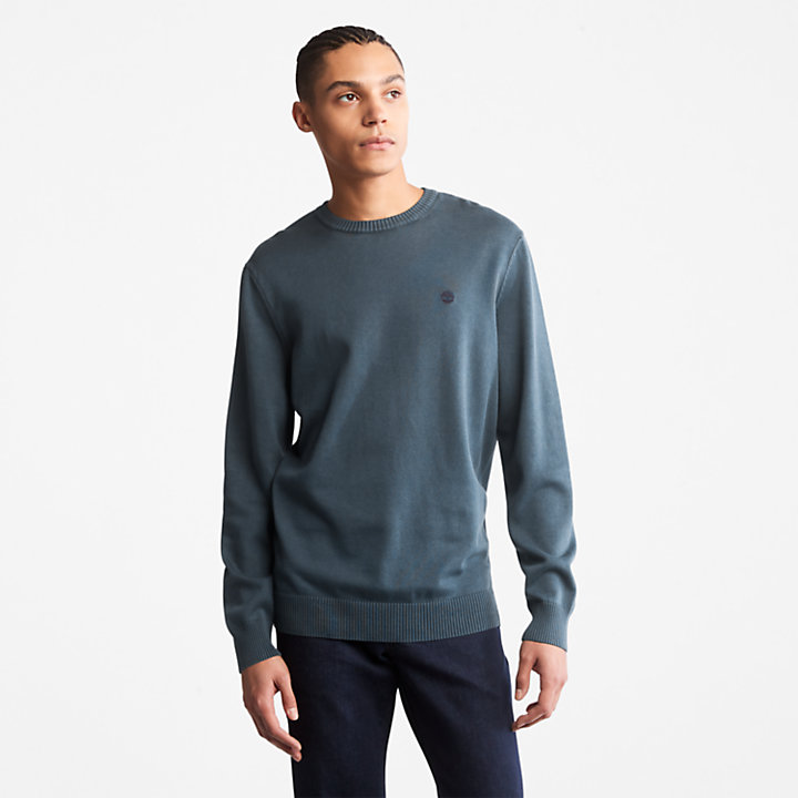 Garment-Dyed Sweater for Men in Blue-
