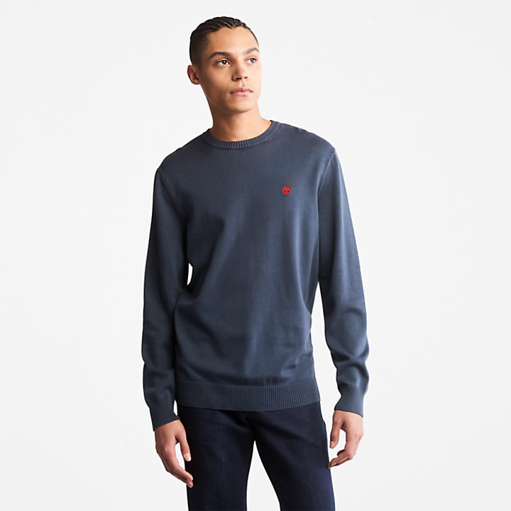 Garment-Dyed Sweater for Men in Navy-