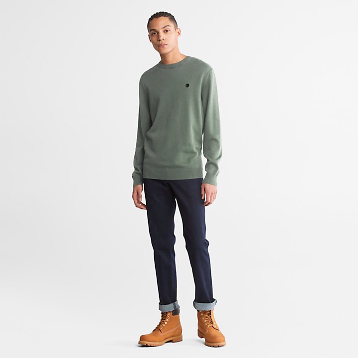 Garment-Dyed Sweater for Men in Green-