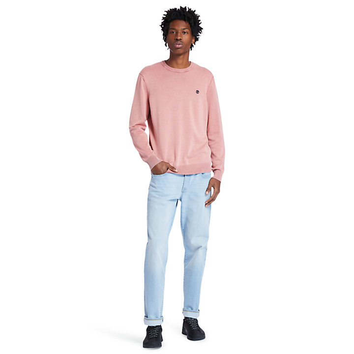 Garment-Dyed Sweater for Men in Pink-