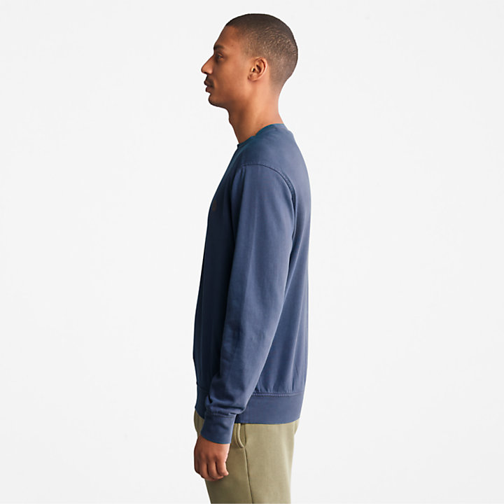 Garment-Dyed Sweatshirt for Men in Blue-