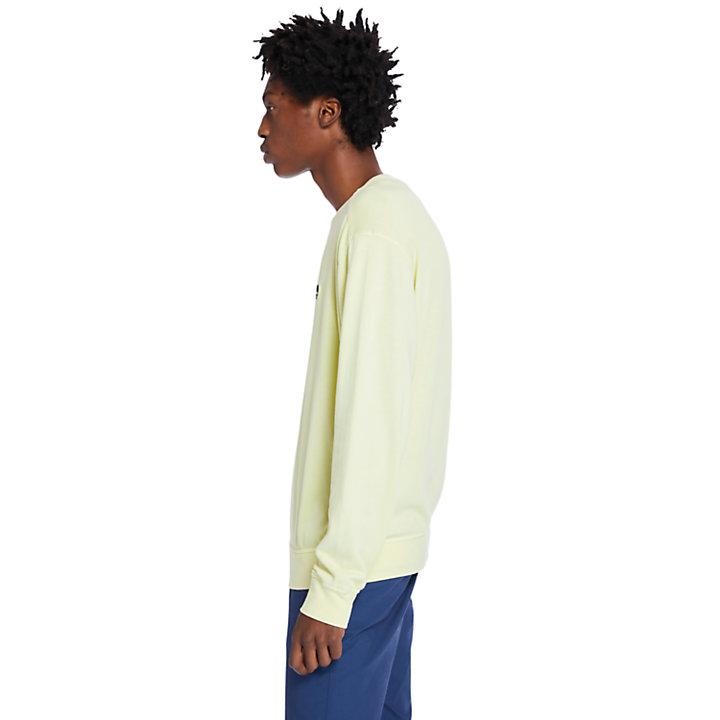 Sudadera teñida en prenda para hombre en amarillo claro-