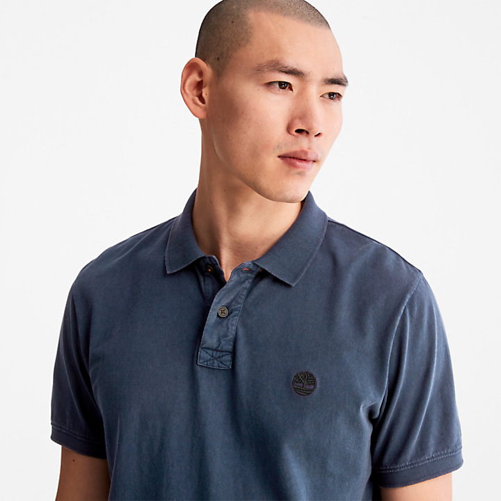 Polo da Uomo in Jersey Sunwashed in blu-