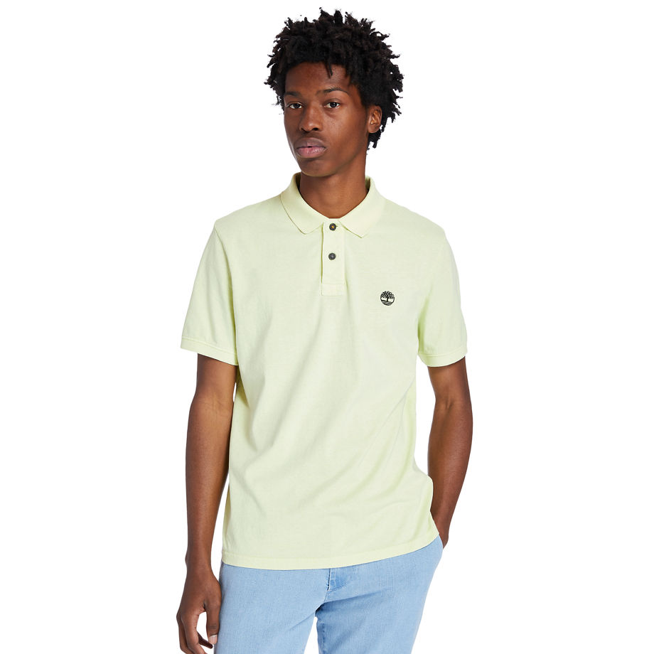 Timberland Sunwashed Jersey Polo Shirt For Men In Light Yellow Yellow, Size XL