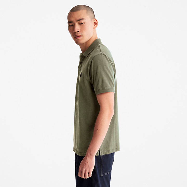 Sunwashed Jersey Polo Shirt for Men in Green-