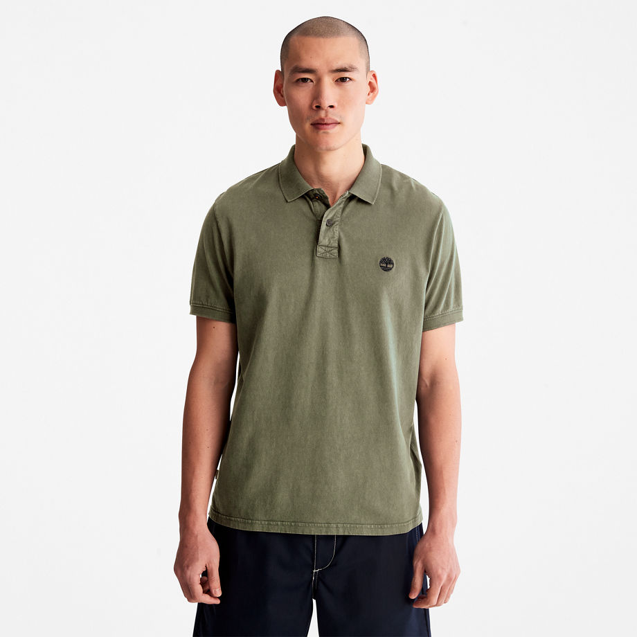 Timberland Sunwashed Jersey Polo Shirt For Men In Green Green, Size XXL