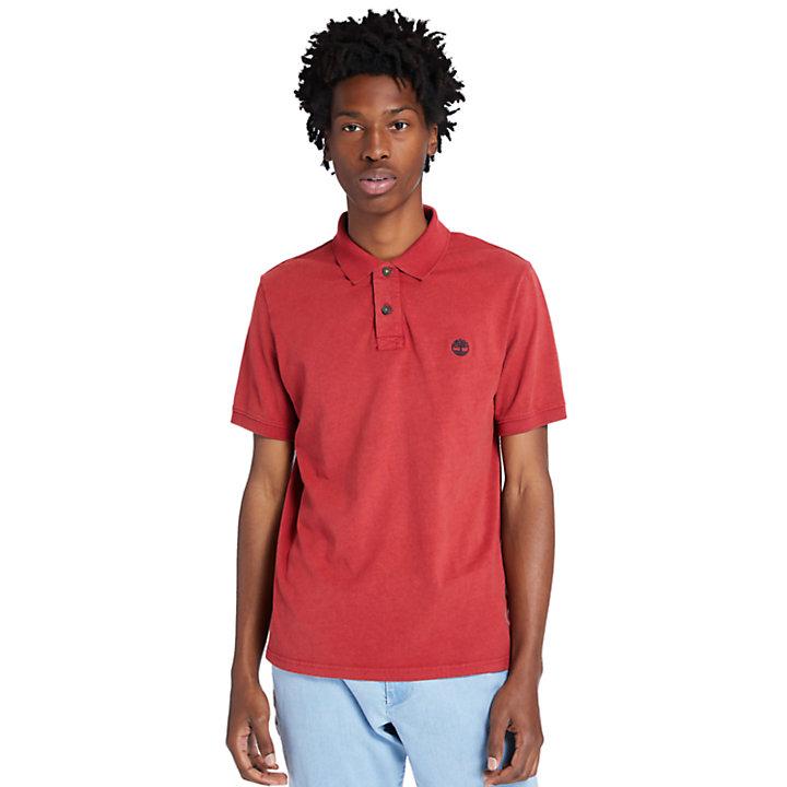 Polo da Uomo in Jersey Sunwashed in rosso-