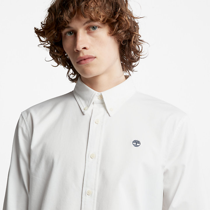 Camicia Oxford Slim da Uomo Pleasant River in bianco-