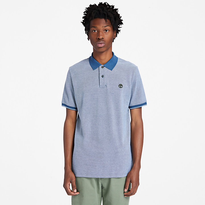 Oxford Pique Polo Shirt for Men in Blue-