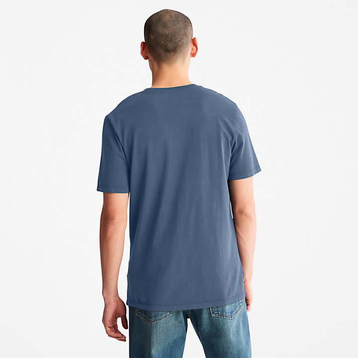 T-shirt da Uomo Garment-Dyed in blu-