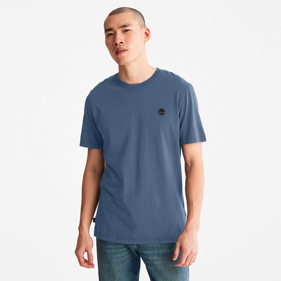 Timberland Garment-dyed T-shirt For Men In Blue Blue, Size XL