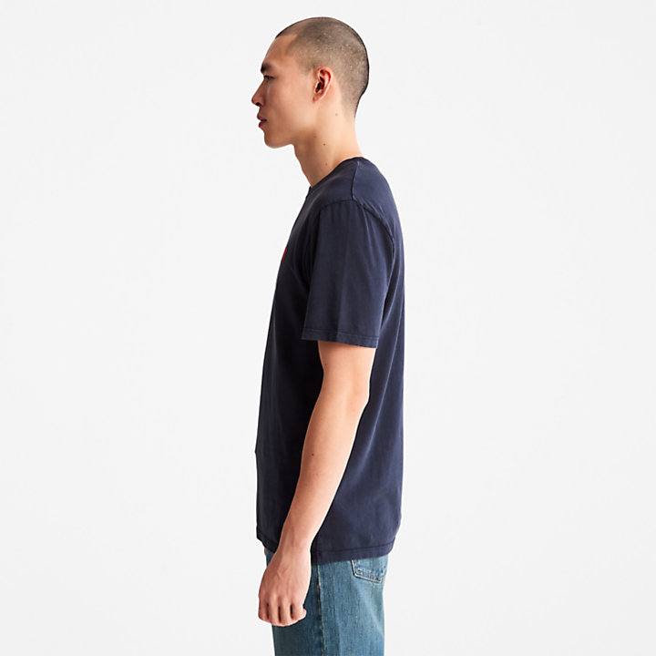 Camiseta teñida en prenda para hombre en azul marino-