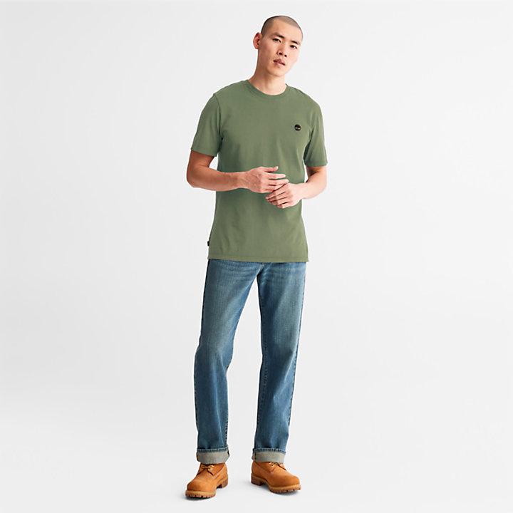 Garment-Dyed T-Shirt for Men in Green-