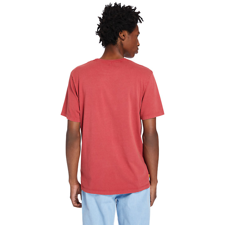 Garment-Dyed T-Shirt for Men in Red-