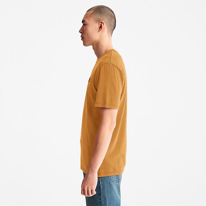 Stückgefärbtes T-Shirt für Herren in Orange-