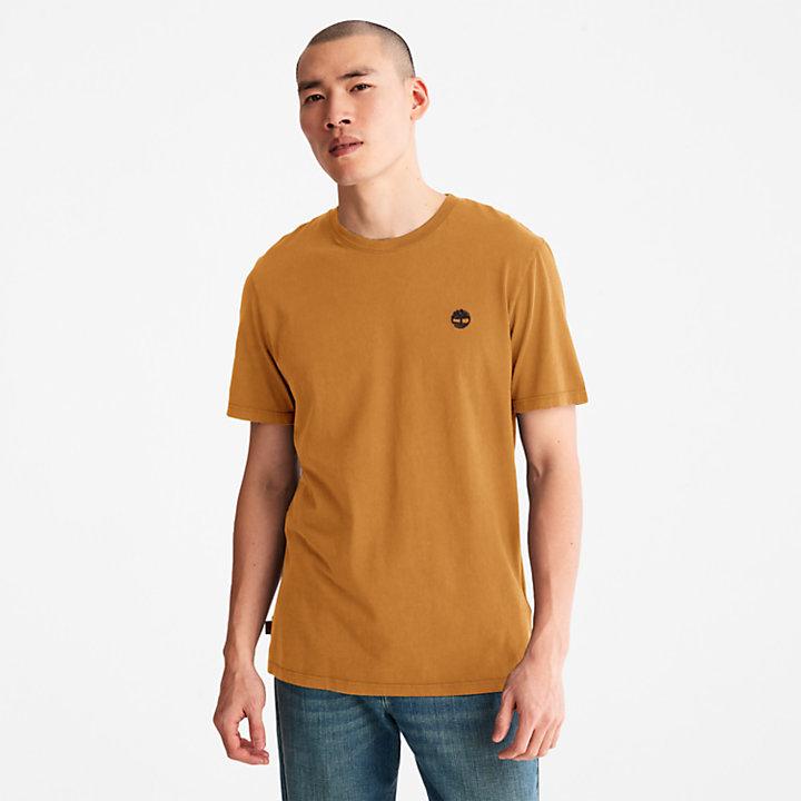 Camiseta teñida en prenda para hombre en naranja-