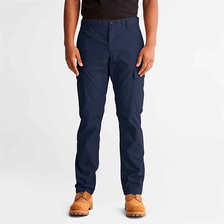 Poplin Cargo Trousers for Men in Navy-