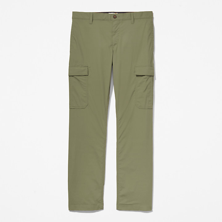 Poplin Cargo Trousers for Men in Green-