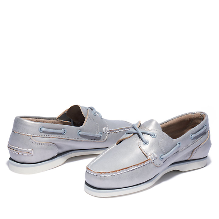 Two-eye Classic Boat Shoe for Women in Silver-
