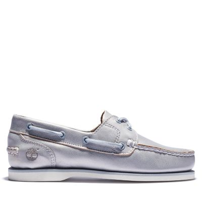 Two-eye+Classic+Boat+Shoe+for+Women+in+Silver