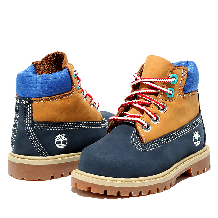 Premium 6 Inch Boot for Toddler in Navy/Yellow-