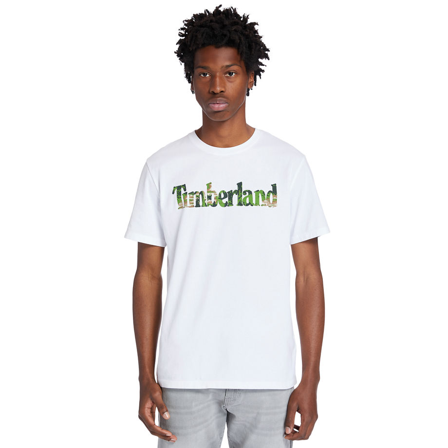 Timberland Kennebec River Logo T-shirt For Men In White White, Size L