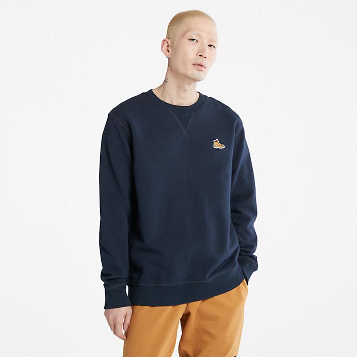 Boot-Logo Crew Neck Sweatshirt for Men in Navy-