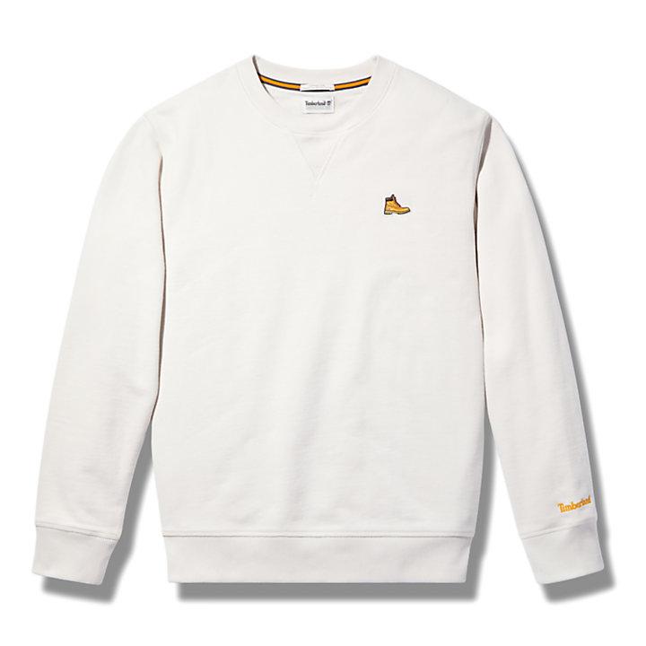 Sweat-shirt en coton biologique à motif bottine pour homme en blanc-