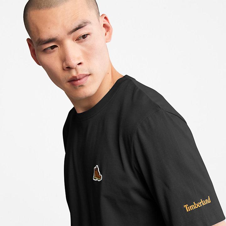 T-Shirt mit Stiefellogo für Herren in Schwarz-