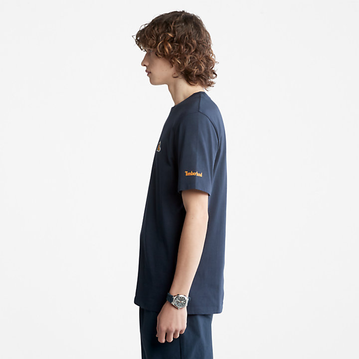 Boot-Logo T-Shirt for Men in Navy-