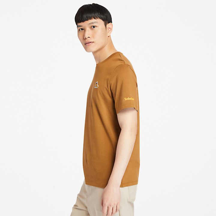 Organic Cotton Boot T-Shirt for Men in Brown-