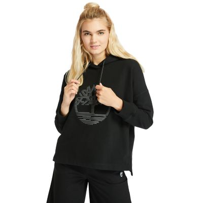 Reflective+Logo+Hoodie+for+Women+in+Black