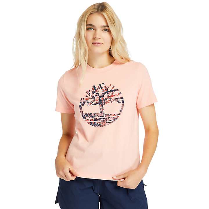 Stippled-Logo T-Shirt for Women in Pink-