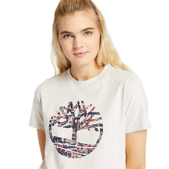 Stippled-Logo T-Shirt for Women in White-