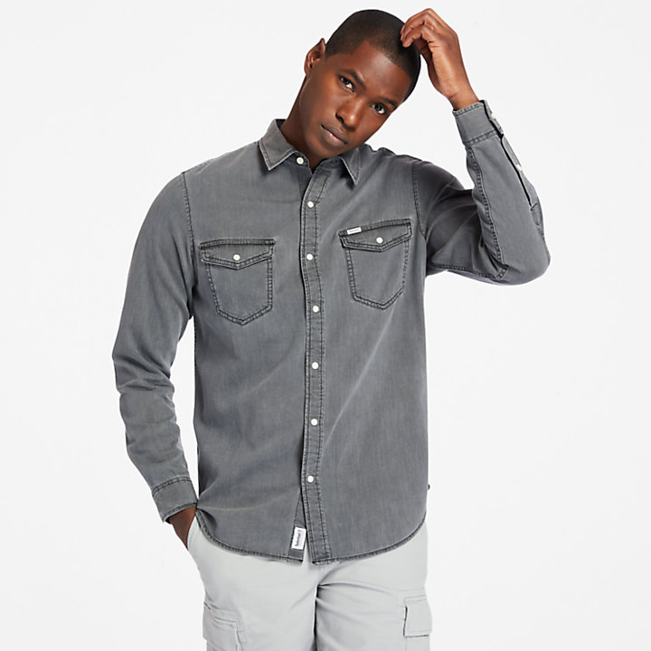 Mumford River Denim Shirt for Men in Grey-