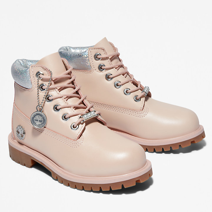 Wasserfeste Timberland® Premium 6-Inch-Stiefel für Kinder in Hellpink/Silber-