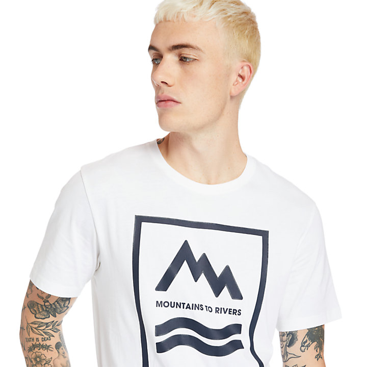Camiseta Mountain-to-River para Hombre en blanco-