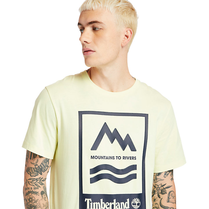 Mountain-to-River T-Shirt for Men in Light Yellow-