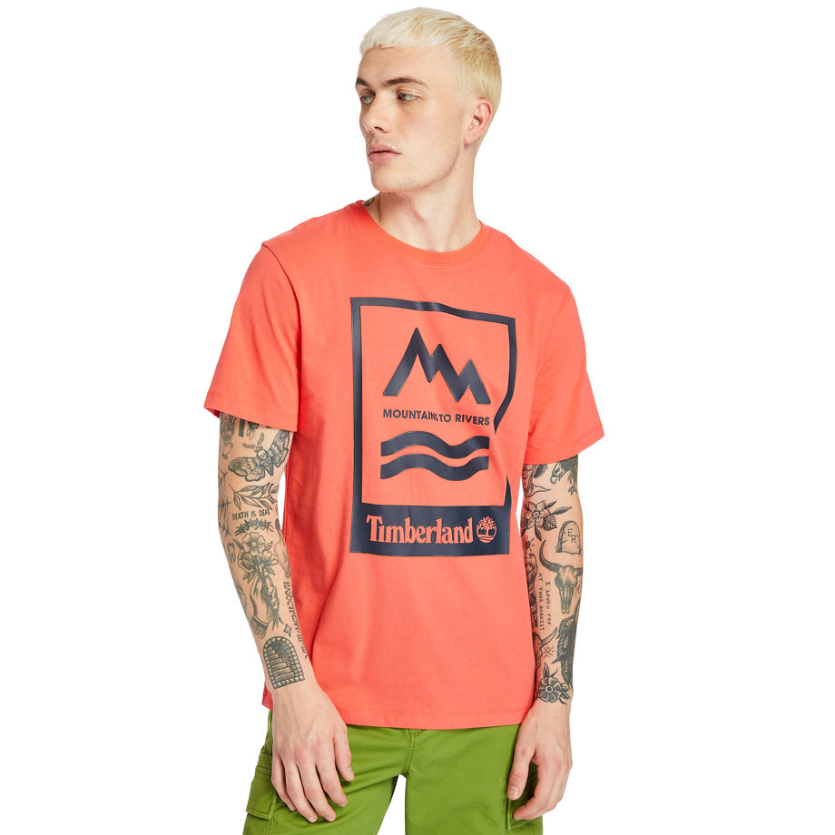 Timberland Mountain-to-river T-shirt For Men In Red Red, Size XXL