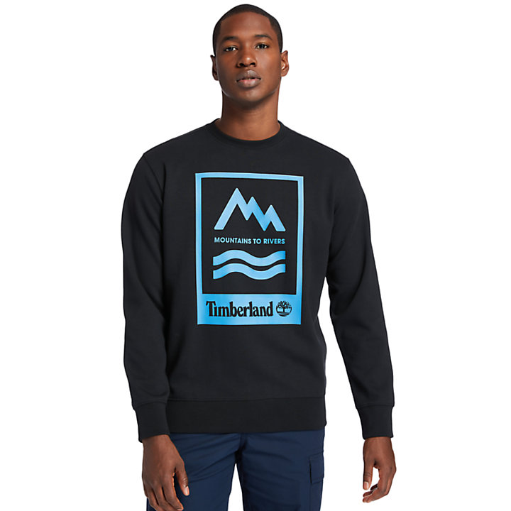 Mountain-to-River Graphic Sweatshirt for Men in Black-