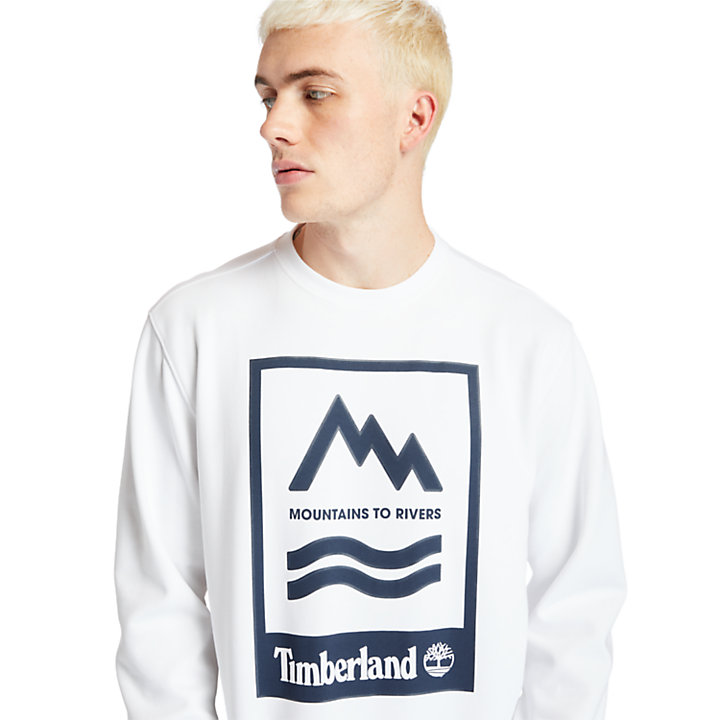 Mountain-to-River Graphic Sweatshirt for Men in White-