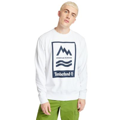 Mountain-to-River+Sweatshirt+f%C3%BCr+Herren+mit+Grafik+in+Wei%C3%9F