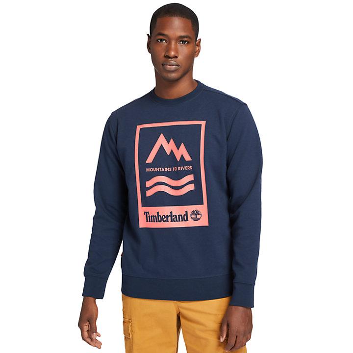 Sudadera con Gráfico Mountain-to-River para Hombre en azul marino-