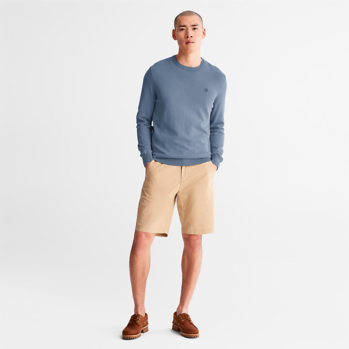 Sweat-shirt teint en pièce pour homme en bleu marine-