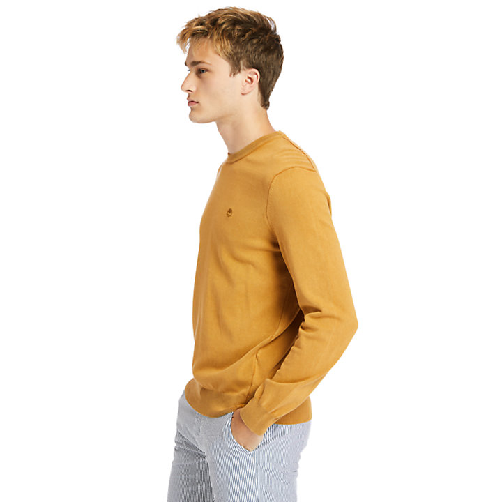 Garment-Dyed Sweatshirt voor heren in geel-